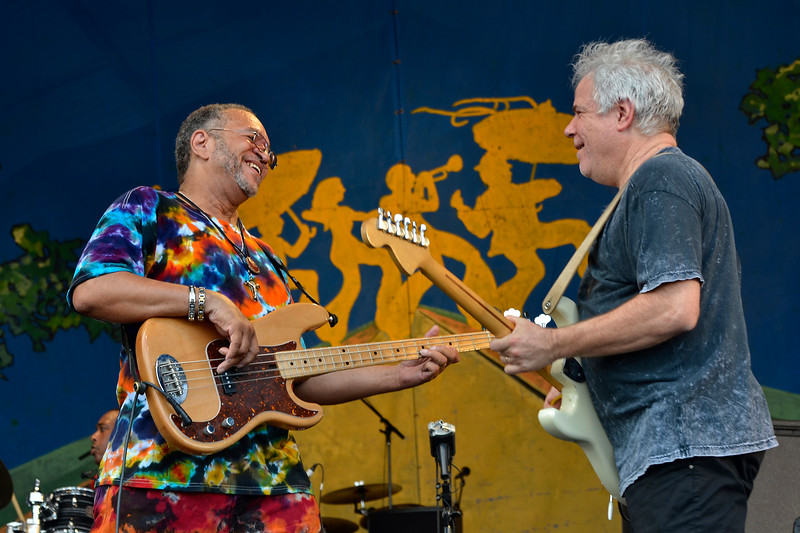 NEW ORLEANS, LA-May 6: George Porter, Jr. and  Brian Stoltz perform with the Funky Meters at the New Orleans Jazz & Heritage Festival in New Orleans, LA on May 6, 2012. (L-R): George Porter, Jr., Brian Stoltz