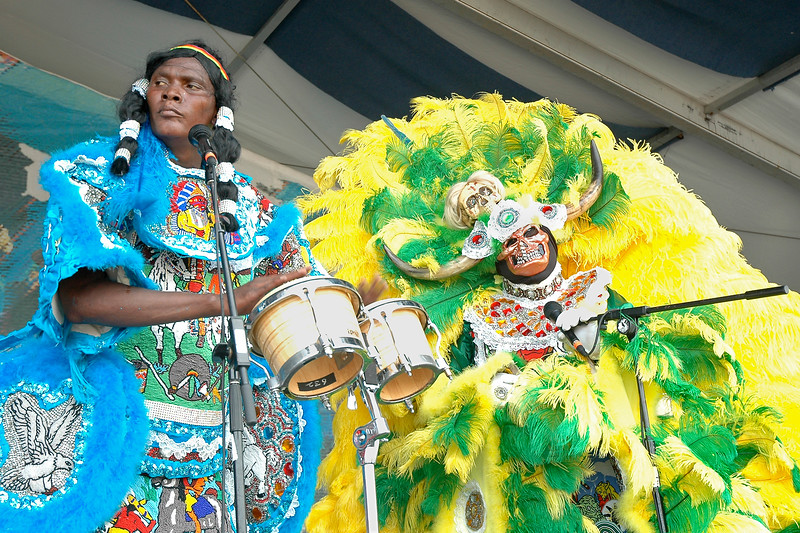 The Semolian Warriors Mardi Gras Indian Tribe performing live on stage at the New Orleans Jazz & Heritage Festival on April 25, 2008.