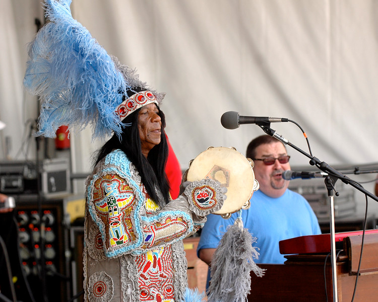 Big Chief Monk Boudreaux performs with John Gros and Papa Grows Funk at the New Orleans Jazz & Heritage Festival on May 6, 2007.