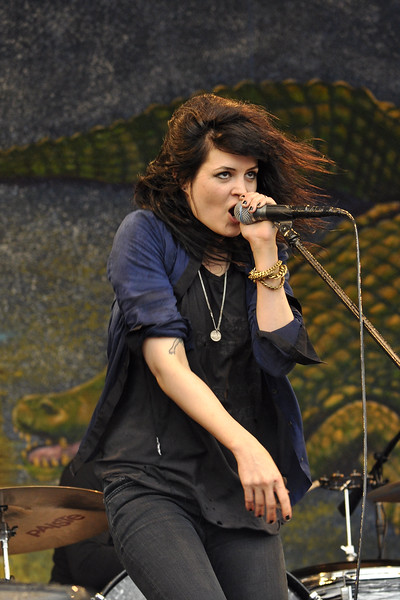NEW ORLEANS, LA-MAY 2: Alison Mosshart performs with The Dead Weather on the Gentilly Stage at the New Orleans Jazz & Heritage Festival on May 2, 2010. (Photo by Clayton Call/Redferns)