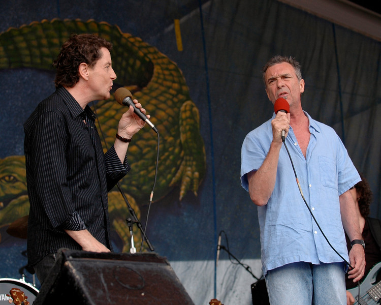 Zachary Richard performs with French singer Francis Cabrel at the New Orleans Jazz & Heritage Festival on April 27, 2007.