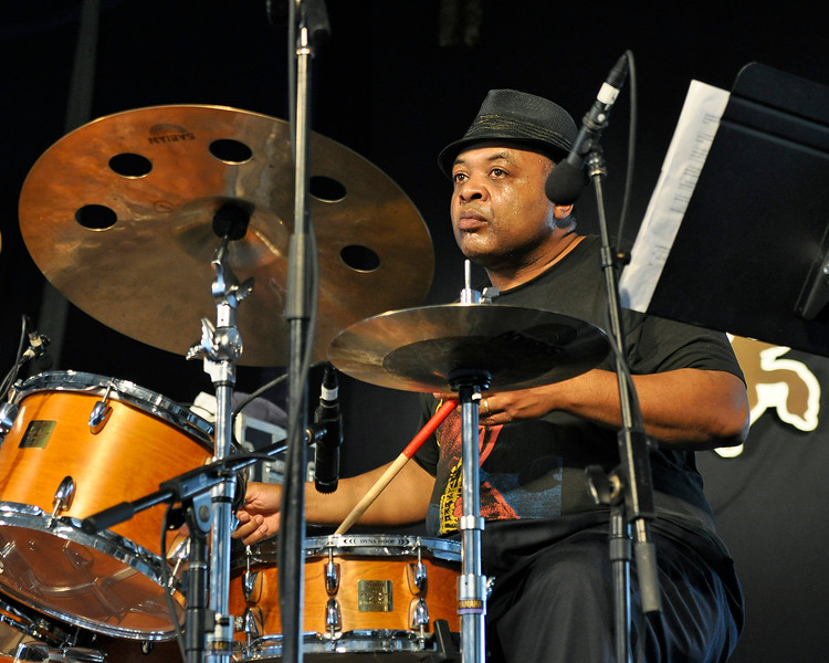 """NEW ORLEANS, LA-APRIL 29: Jeff """"Tain"""" Watts performs with Nicholas Payton at the New Orleans Jazz & Heritage Festival in New Orleans, LA on April 29, 2012. (Photo by Clayton Call/Redferns)"""