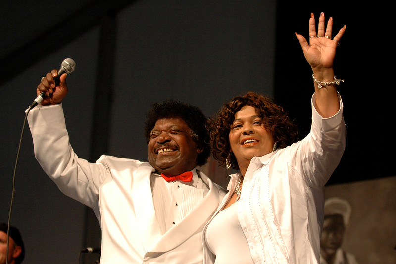 Percy Sledge performs with his wife as special guest vocalist at the New Orleans Jazz & Heritage Festival on April 27, 2007.