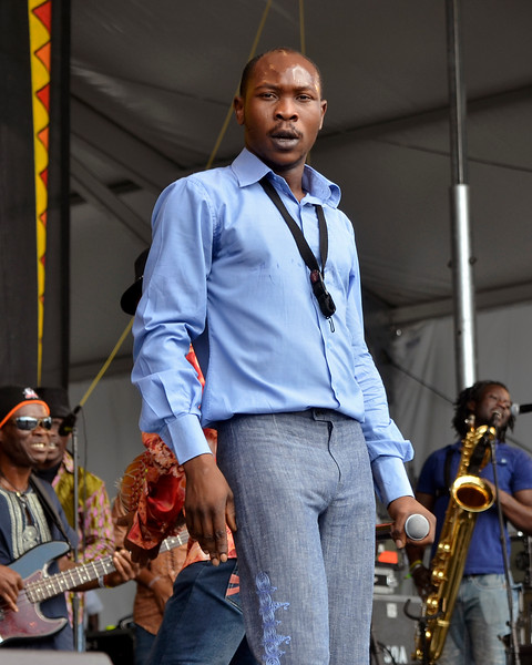 NEW ORLEANS, LA-April 27: Seun Kuti performs at the New Orleans Jazz & Heritage Festival in New Orleans, LA on April 27, 2012. (Photo by Clayton Call/Redferns)