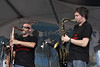 NEW ORLEANS, LA-APRIL 24: Ben Ellman (L) and Skerik (R) perform with Midnite Disturbers at the New Orleans Jazz & Heritage Festival on April 24, 2010. (Photo by Clayton Call/Redferns)