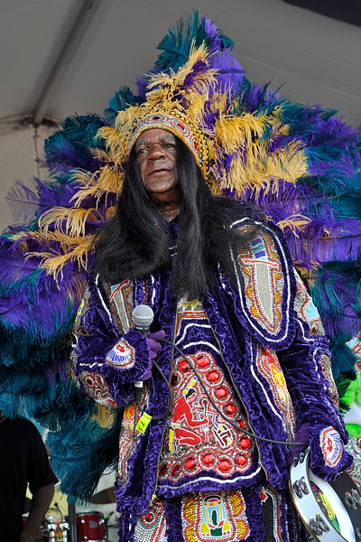 NEW ORLEANS, LA-APRIL 29: Big Chief Monk Boudreaux performs  with 101 Runners at the New Orleans Jazz & Heritage Festival in New Orleans, LA on April 29, 2012. (Photo by Clayton Call/Redferns)