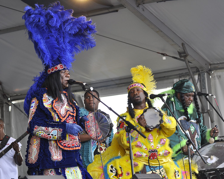 NEW ORLEANS, LA-APRIL 29: Big Chief Monk Boudreaux (in blue) and Big Chief Juan Pardo (in red) perform with 101 Runners on the Jazz & Heritage Stage at the New Orleans Jazz & Heritage Festival on April 29, 2010. (Photo by Clayton Call/Redferns)
