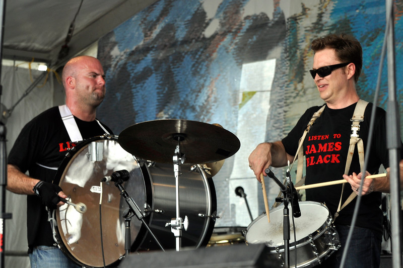 NEW ORLEANS, APRIL 24: (L-R): Kevin O'Day and Stanton Moore perform with the Midnite Disturbers at the New Orleans Jazz & Heritage Festival on April 24, 2010. (Photo by Clayton Call/Redferns)