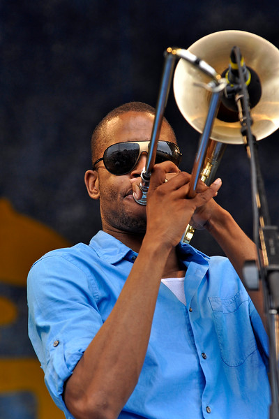 NEW ORLEANS, LA-MAY 2: Trombone Shorty (Troy Andrews) performs at the Gentilly Stage at the New Orleans Jazz & Heritage Festival on May 2, 2010. (Photo © Clayton Call)