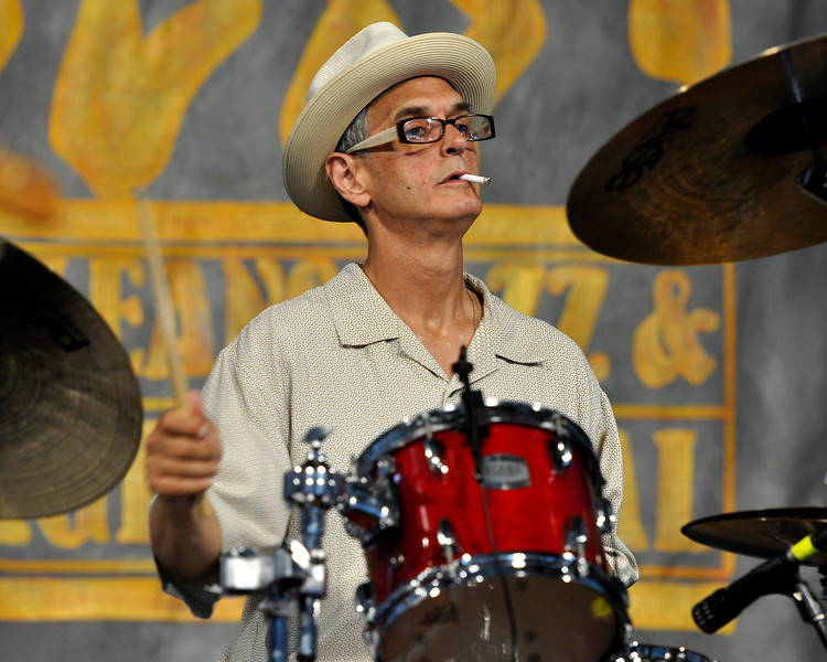 NEW ORLEANS, LA-May 5: Carlo Nuccio performs with John Mooney at the New Orleans Jazz & Heritage Festival in New Orleans, LA on May 5, 2012. (Photo by Clayton Call/Redferns)