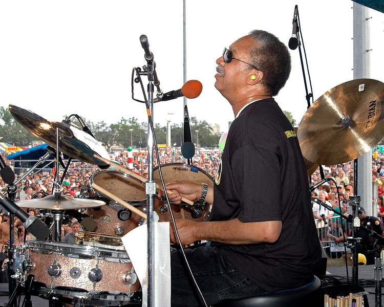 """Joseph """"Zigaboo"""" Modeliste"""" plays with the Meters at Jazzfest 2006."""