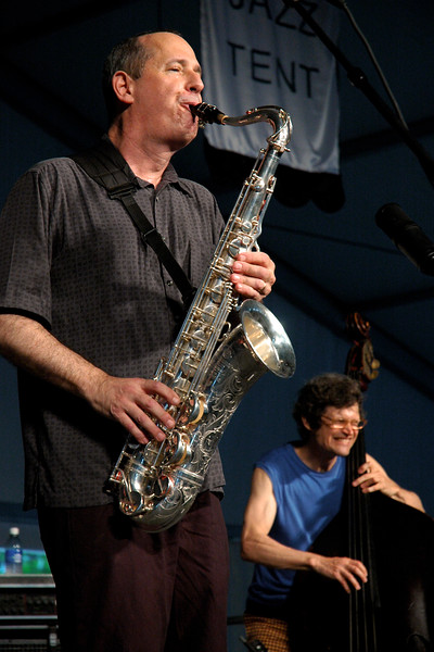 Astral Project celebrate their 30th anniversary performing live on stage at the New Orleans Jazz & Heritage Festival on April 26, 2008. ( L-R ) Tony Dagradi,  James Singleton.