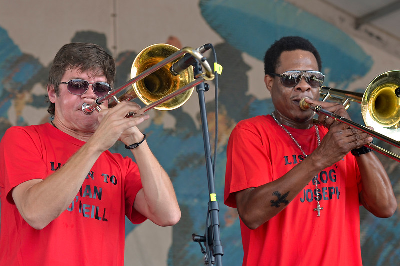 NEW ORLEANS, LA-APRIL 28: Mark Mullins and Corey Henry perform with the Midnight Disturbers at the New Orleans Jazz & Heritage Festival in New Orleans, LA on April 28, 2012. (Photo by Clayton Call/Redferns)