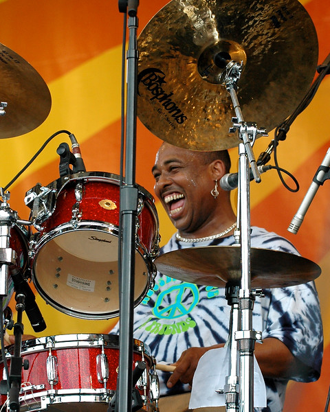 Russell Batiste performing live on stage with Porter, Batiste & Stoltz at the New Orleans Jazz & Heritage Festival on May 1, 2008.