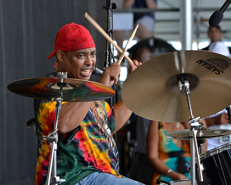 NEW ORLEANS, LA-APRIL 29: Russell Batiste performs with The Batiste Brothers at the New Orleans Jazz & Heritage Festival in New Orleans, LA on April 29, 2012. (Photo by Clayton Call/Redferns)