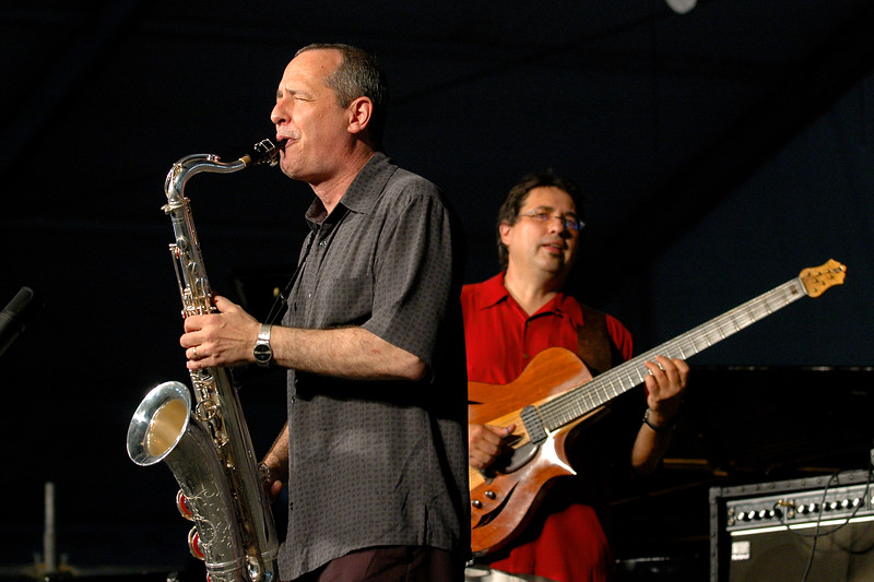 Astral Project celebrate their 30th anniversary performing live on stage at the New Orleans Jazz & Heritage Festival on April 26, 2008. ( L-R ) Tony Dagradi, Steve Masakowski.