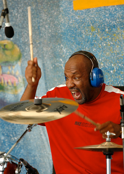 "Jeffrey ""Jellybean"" Alexander, drummer for Papa Grows Funk, is shown hear playing with bluesman Snooks Eaglin."