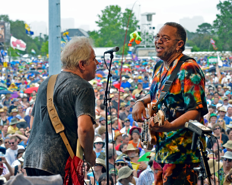 NEW ORLEANS, LA-May 6: Brian Stoltz and George Porter, Jr. perform with the Funky Meters at the New Orleans Jazz & Heritage Festival in New Orleans, LA on May 6, 2012. (L-R): Brian Stoltz, George Porter, Jr.
