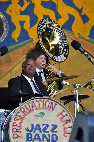 NEW ORLEANS, LA-May 6: Joseph Lastie, Jr. and Ben Jaffe perform as part of the Preservation Hall 50th Anniversary at the New Orleans Jazz & Heritage Festival in New Orleans, LA on May 6, 2012. (L-R): Joseph Lastie, Jr., Ben Jaffe (Photo by Clayton Call/Redferns)