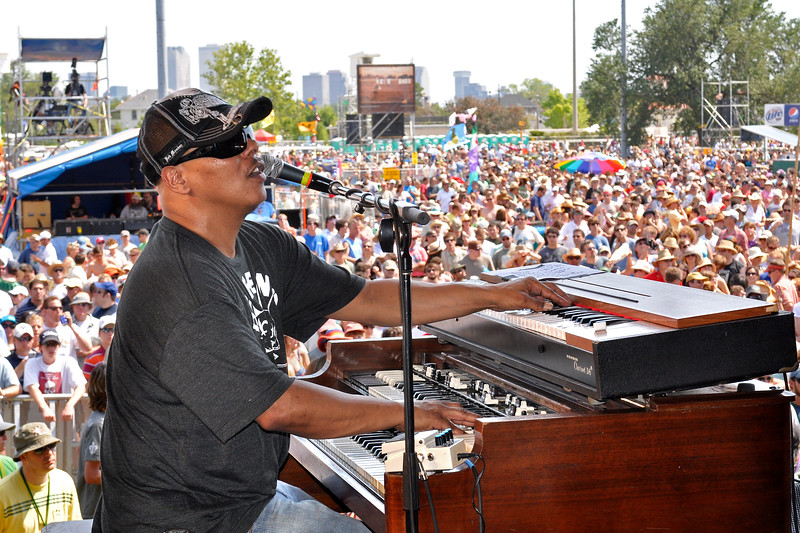 Ivan Neville performing with Dumpstaphunk at the New Orleans Jazz & Heritage Festival on April 25, 2009.
