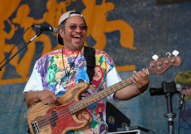 George Porter, Jr. performs with the New Orleans Social Club at the New Orleans Jazz & Heritage Festival on April 29, 2007.