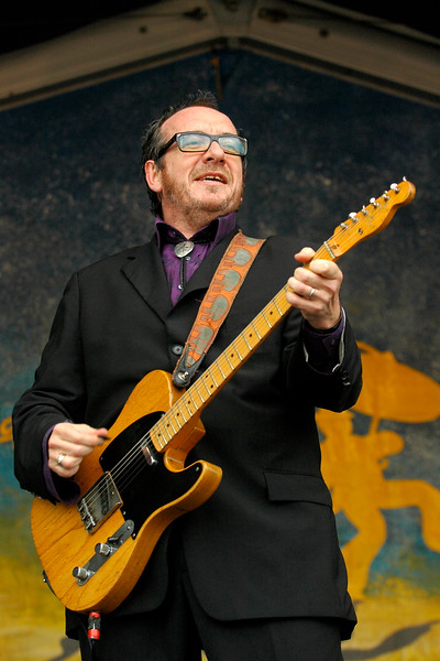Elvis Costello performing live on stage with the Impostors at the New Orleans Jazz & Heritage Festival on April 27, 2008.