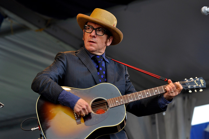NEW ORLEANS, LA-APRIL 29: Elvis Costello performs with the Sugarcanes at the New Orleans Jazz & Heritage Festival on April 29, 2010. (Photo by Clayton Call/Redferns)