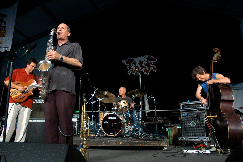 Astral Project celebrate their 30th anniversary performing live on stage at the New Orleans Jazz & Heritage Festival on April 26, 2008. ( L-R ) Steve Masakowski, Tony Dagradi, Johnny Vidacovich, James Singleton.