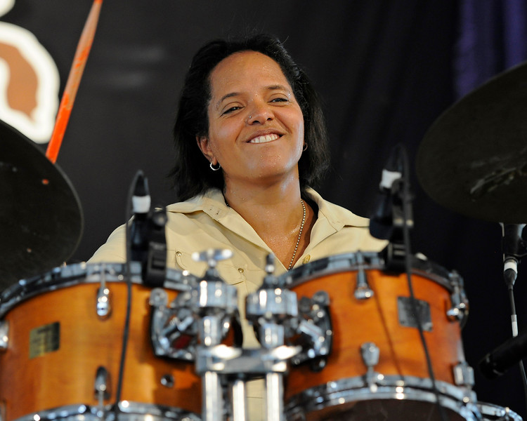 NEW ORLEANS, LA-May 4: Terri Lyne Carrington performs with her band at the New Orleans Jazz & Heritage Festival in New Orleans, LA on May 4, 2012.