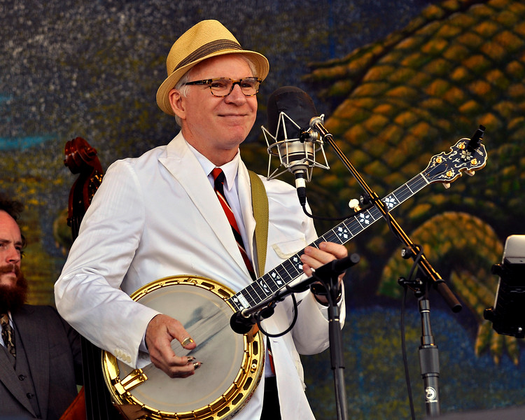 NEW ORLEANS, LA-APRIL 29: Steve Martin performs with the Steep Canyon Rangers at the New Orleans Jazz & Heritage Festival on April 29, 2010. (Photo by Clayton Call/Redferns)