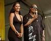 Stevie Wonder and his daughter, Aisha Morris, at the start of his set at the New Orleans Jazz & Heritage Festival on May 2, 2008.