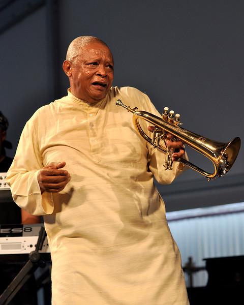 Hugh Masakela perfoming at the New Orleans Jazz & Heritage Festival on April 26, 2009.