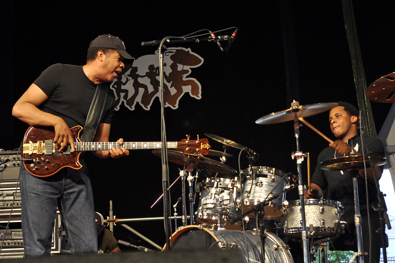 NEW ORLEANS, LA-APRIL 30: Stanley Clarke (L) and Ronald Bruener, Jr. (R) perform in the Jazz Tent at the New Orleans Jazz & Heritage Festival on April 30, 2010. (Photo by Clayton Call/Redferns)
