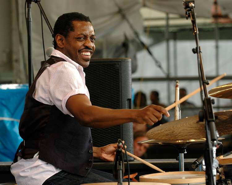 Steve Jordan performing live on stage with Art Neville at the New Orleans Jazz & Heritage Festival on May 2, 2008.