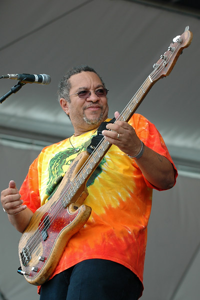 George Porter Jr. performs with Porter, Batiste & Stoltz at the New Orleans Jazz & Heritage Festival on May 1, 2008.