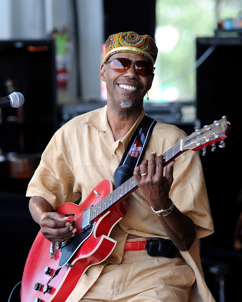 """Walter """"Wolfman"""" Washington performing live with Joe Krown and Russell Batiste at the New Orleans Jazz & Heritage Festival on April 25, 2009."""