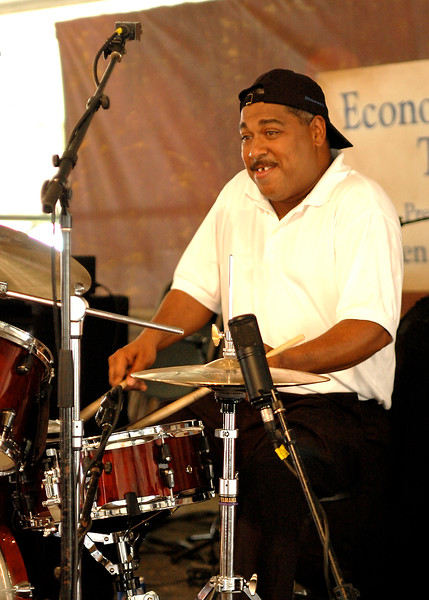 Former Harry Connick Jr. drummer Shannon Powell has become one of New Orleans' first-call traditional jazz drummers. Seen here with Evan Christopher and Tom McDermott in the Economy Hall Tent at Jazzfest 2006.