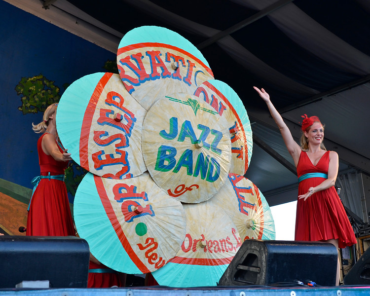 NEW ORLEANS, LA-May 6: Fleur de Tease burlesque troup performs as part of the Preservation Hall 50th Anniversary at the New Orleans Jazz & Heritage Festival in New Orleans, LA on May 6, 2012. (Photo by Clayton Call/Redferns)