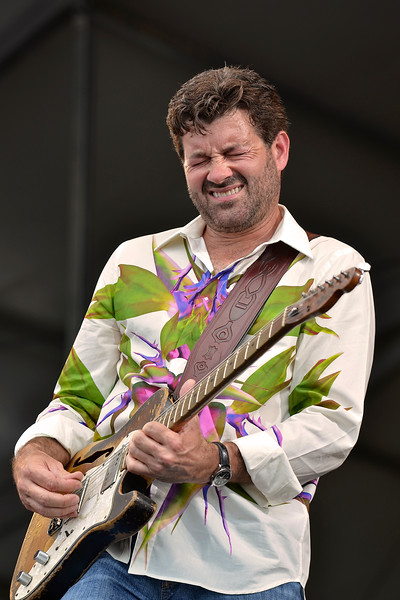 NEW ORLEANS, LA-APRIL 28: Tab Benoit performs with Voice of the Wetlands All-Stars at the New Orleans Jazz & Heritage Festival in New Orleans, LA on April 28, 2012. (Photo by Clayton Call/Redferns)