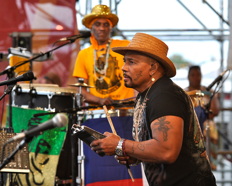 Cyril & Aaron Neville performing with the Neville Brothers at the New Orleans Jazz & Heritage Festival on May 3, 2009,
