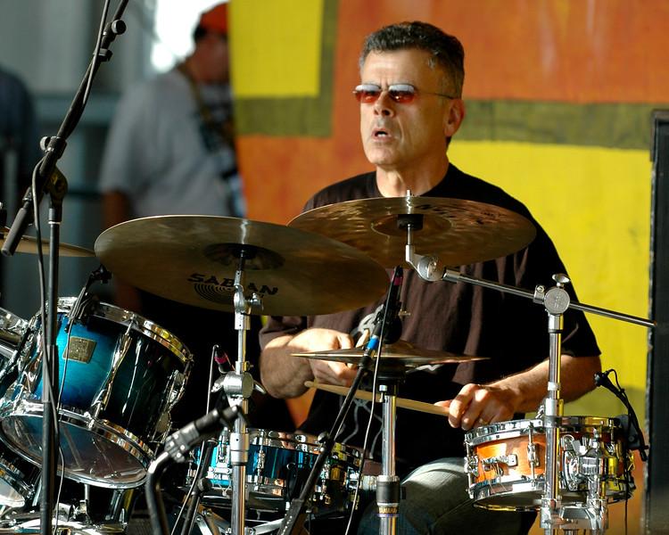 David Garibaldi performing live on stage with Tower of Power at the New Orleans Jazz & Heritage Festival on May 1, 2008.
