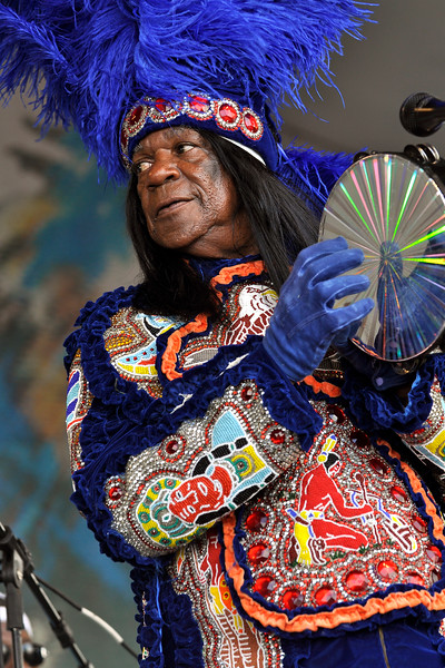 NEW ORLEANS, LA-APRIL 29: Big Chief Monk Boudreaux performs with 101 Runners at the New Orleans Jazz & Heritage Festival on April 29, 2010. (Photo by Clayton Call/Redferns)