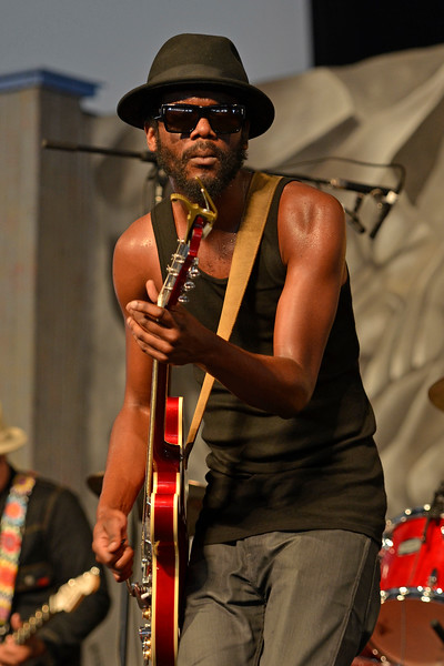 NEW ORLEANS, LA-APRIL 29: Gary Clark, Jr. performs at the New Orleans Jazz & Heritage Festival in New Orleans, LA on April 29, 2012. (Photo by Clayton Call/Redferns)