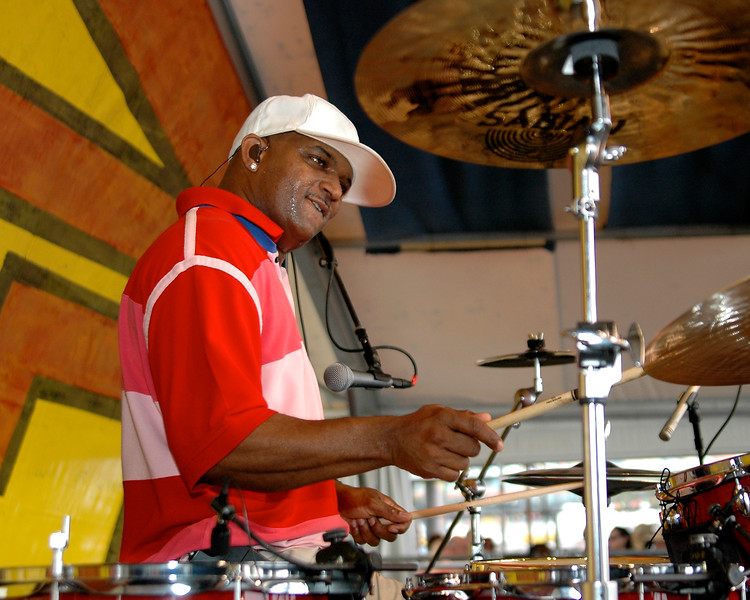 Terence Higgins plays with the Dirty Dozen Brass Band on the Congo Square stage at Jazzfest 2006.