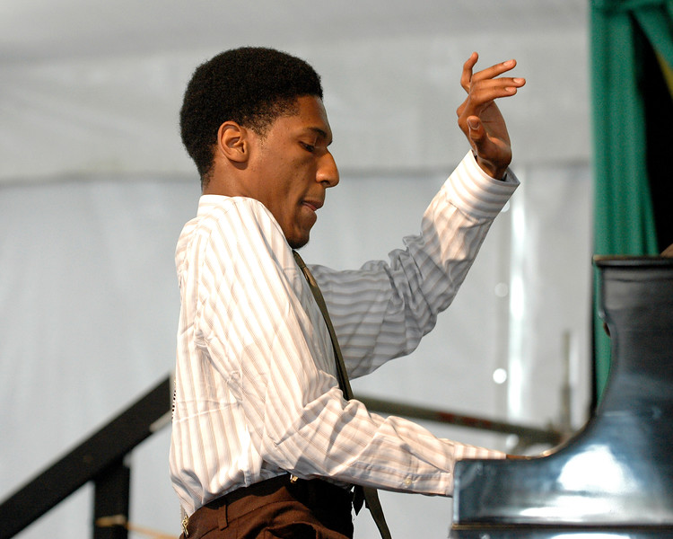 Jonathan Batiste perfoming at the New Orleans Jazz & Heritage Festival on April 28, 2006.