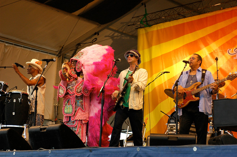 Voice of the Wetlands All-Stars performing at the New Orleans Jazz & Heritage Festival on April 27, 2008. (l-r): Cyril Neville, Monk Boudreaux, Anders Osborne, George Porter, Jr.