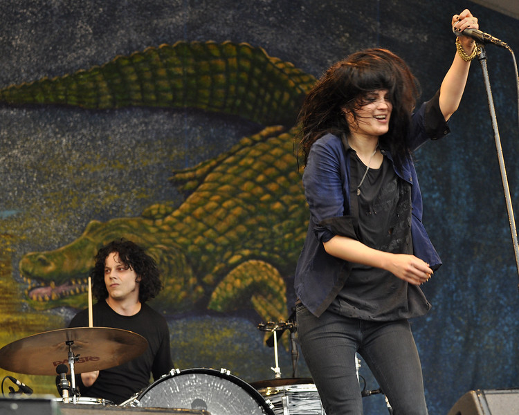 NEW ORLEANS, LA-MAY 2: Jack White (L) and Alison Mosshart (R) perform with The Dead Weather  on the Gentilly Stage at the New Orleans Jazz & Heritage Festival on May 2, 2010. (Photo by Clayton Call/Redferns)