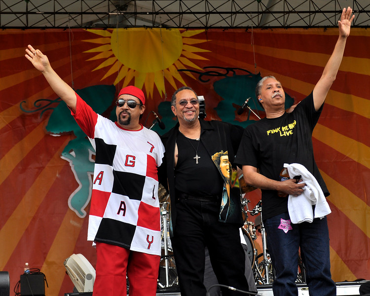 The Meter Men taking a final bow at the New Orleans Jazz & Heritage Festival on April 30, 2009. (L-R): Leo Nocentelli, George Porter, Jr, and Zigaboo Modeliste.