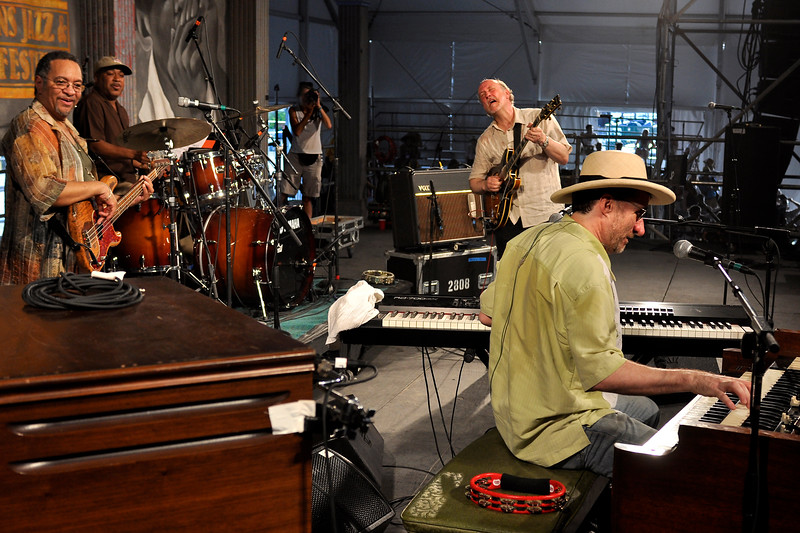 John Scofield and the Piety St. Band performing at the New Orleans Jazz & Heritage Festival on May 1, 2009. (L-R): George Porter, Jr., Shannon Powell, John Scofield, Jon Cleary.
