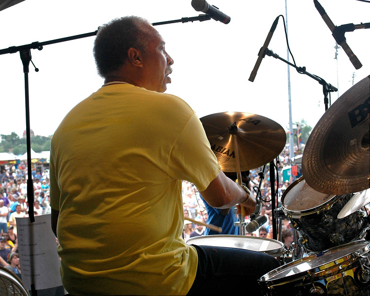 Zigaboo Modeliste performing with his band at the New Orleans Jazz & Heritage Festival on May 2, 2008.